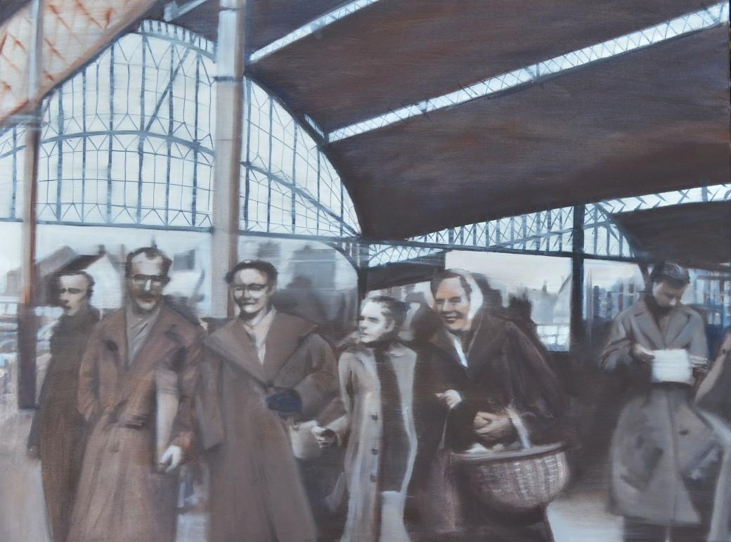 Posthumus family departure 1956 2018 oil on canvas 100 x 70 cm